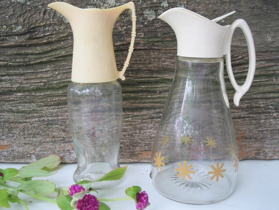 Vintage Atomic Midcentury Decanters-Modern-Two-Starburst-Syrup Bottles from Tessiemay