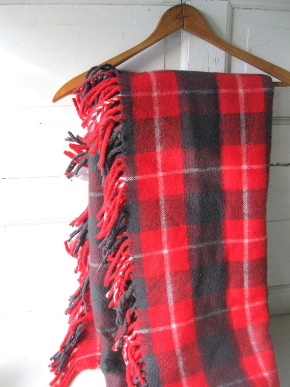 Vintage 70s Plaid Throw Cabin Mountain Red and Black Wool Blend Washable from Tessiemay