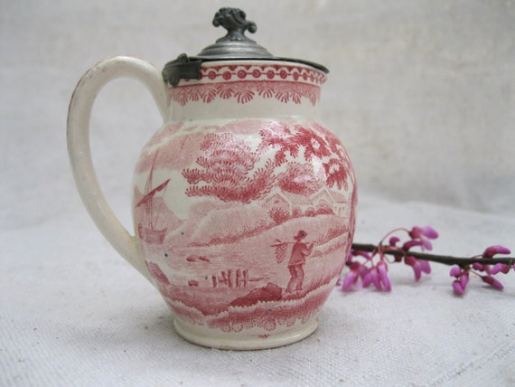 Vintage Pitcher-Creamer-Wedgwood-Early 1900's-Rose Pattern- Pewter Top from Tessiemay
