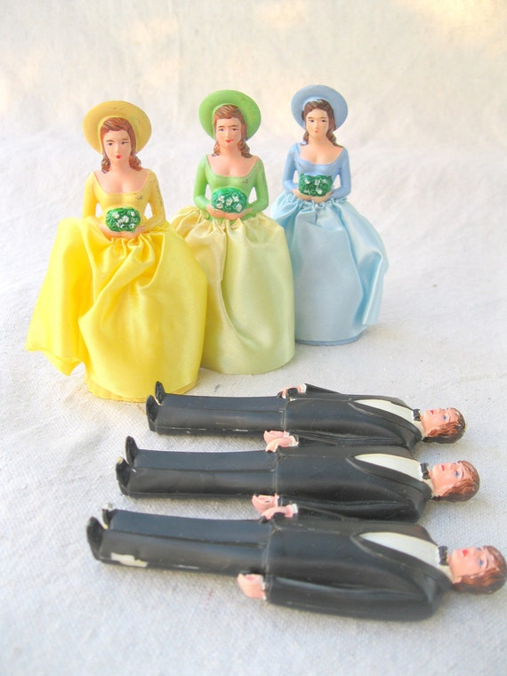 Vintage Bridal Party Cake Toppers 70's Wedding Bridesmaids Groomsmen Plastic from Tessiemay