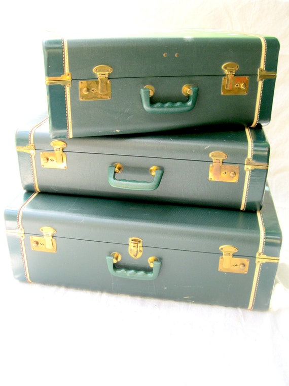 Vintage Luggage //Three// Emerald Green Suitcase Set //Stackable Traveling Bags from Tessiemay