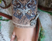 Steam Punk BUTTERFLY Embroidered Wrist Cuff with vintage Skeleton Key and Watch Gears