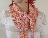 Unique hand knitted spring scarf in cream, fuchsia, burnt orange and gold cotton blend with tassel