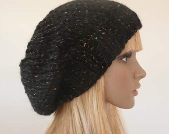 Black Slouchy beanie - black beanie - knit slouchy hat - winter accessories