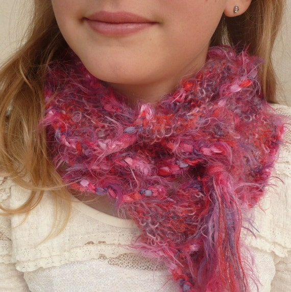 Ruffle Knitted Scarf Pink fine kid mohair with tassels , incredibly soft, light and warm. Hand Knit winter accessory