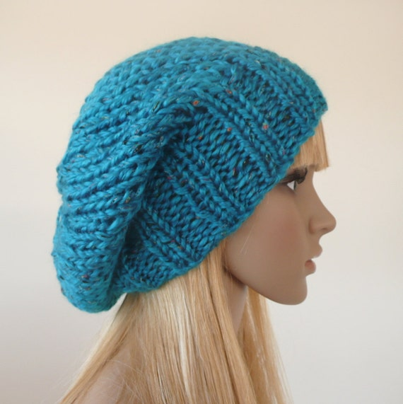 Blue knit hat -  womens hat-  Hand knit slouchy hat - Slouchy Beanie -  Winter hat