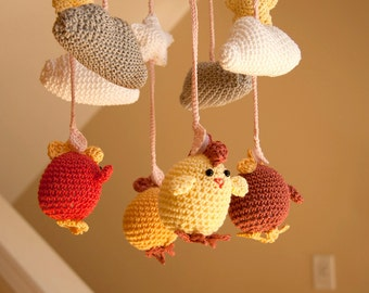 Cute Crocheted Chicken Baby Mobile