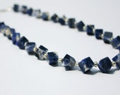 "Sodalite cube beaded necklace. ""Blueberry Swirl"""