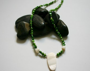 Green Pearl and White Shell Necklace