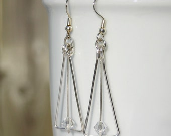 Clear Swarovski crystal & hammered silver wire earrings