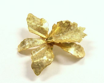 VINTAGE Gold Pin Brooch Blank One (1) ORCHID Pin Cabochon Flower Gold Orchid Vintage Jewelry Blank Supplies (R33)