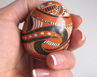 Trypillian Design small sculpture hand painted batik style egg great gift full of symbols of infinity for long distance relationship gift