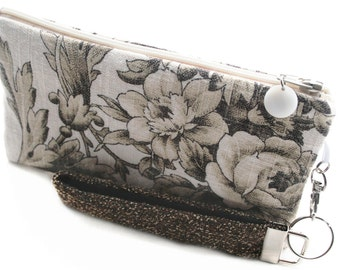 Barn wedding rustic handbag is a unique brown bridesmaids wristlet clutch handmade with country chic toile fabric