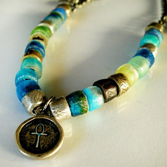 Ankh and Jelly Beads Necklace RESERVED FOR ROSE