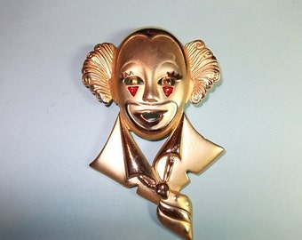 Circus Vintage Brooch Pin Large Golden Clown Vintage Jewelry