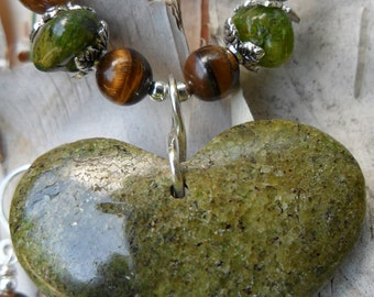 Peridot Heart Pendant with Tiger Eye Necklace and Earring Set AugustRUSH