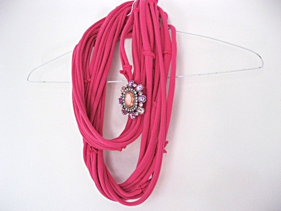 Hot pink skinny scarf, dark fuchsia jersey scarf, bright pink infinity scarf, t shirt scarf, shabby cottage chic with vintage pin