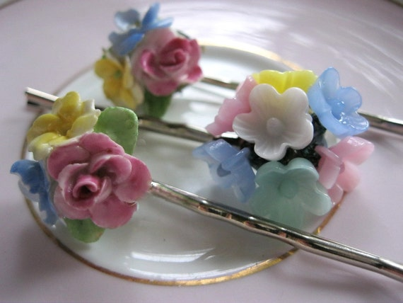 Floral hair pins, vintage jewelry hair pins, flower bobby pins, pink, blue, yellow flowers, bridal hair pins, vintage hair pins