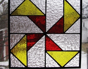 SeeSaw Quilt Pattern Stained Glass Panel