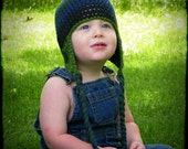 Dark Blues And Green Self Striping Crochet Hat - Choose Your Size