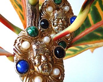 BOho BLiNg 80s Huge Tribal Oriental Gold Tone Chunky Earrings Clip Ons With God of Wisdom's Face and Multicolored Stones