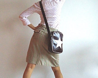 MARC JACOBS BooKWoRM GoeS on a Date Fun Skirt in Beige Brown Olive Green and Pink S/M
