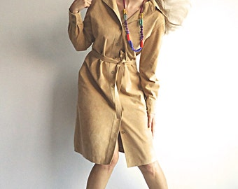 URBAN SQUAW 70s Soft Faux Suede Shirt Dress By Union IGlWU For Strong on the Outside and Softie on the Inside Size S or M