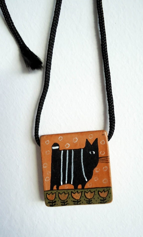 CHARMING Like A Little BLACK CAT Vintage Hand-Made Art Pendant with Cute Black Cat