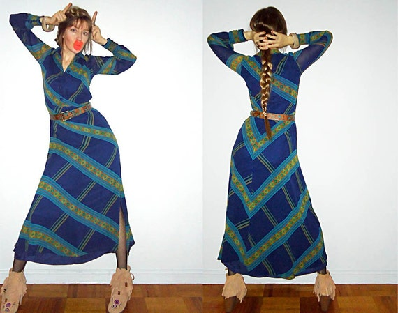 SaLe Her FiRST GOwN Silk Chiffon Maxi 70s Dress with Incredible Pattern for Bold and Beautiful S/M