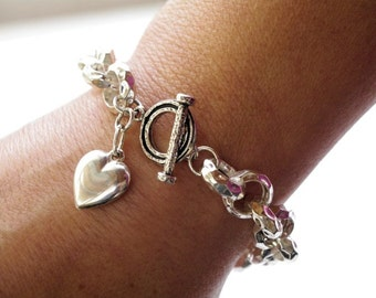 Big Silver Chain Bracelet, Pretty Heavy Bracelet Rolo Link Sterling Silver Heart Charm, Heart Bracelet, Hammered Silver Chain, Toggle Clasp