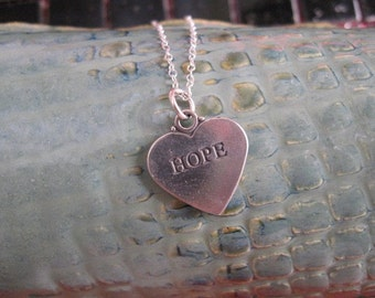 Hope Charm Necklace, Silver Heart Pendant, Sterling Silver Heart Necklace with Engraved Hope, Silver Hope Charm, Silver Necklace Heart