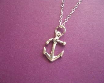 Anchor Necklace, Anchor Charm Necklace, Tiny Anchor, Sterling Silver Charm, Simple Necklace,  Pendant Necklace Beach Jewelry