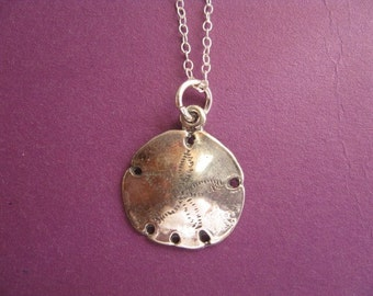 Sterling Silver Sand Dollar Necklace, Sand Dollar Charm, Seashell Neckace, Beach Jewelry, Charm Necklace, Surfer Necklace