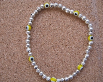 Silver Bead Bracelet, Evil Eye Bracelet, Everyday Jewelry, Simple Bead Bracelet, Silver Bracelet, Yellow Evil Eye Bead Stretch Bracelet