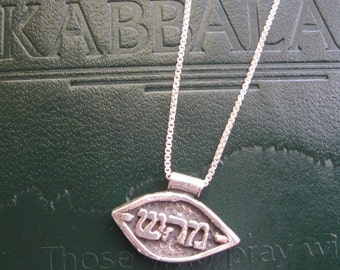 Silver Kabbalah Necklace, Kabbalah Charm, Hebrew Letters Necklace, Kabbalah Spiritual Mystical Charm Sterling Silver Necklace