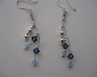 Simple Dangle Earrings, Sterling Silver Dangle Earrings, Blue Earrings, Everyday Jewelry, Silver Earrings Blue Crystals, Layered Jewelry