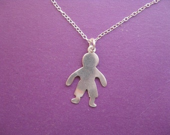 Silver Boy Charm Necklace, Simple Silver Necklace with Child Charm Pendant, Childrens Jewelry, Sterling Silver Necklace