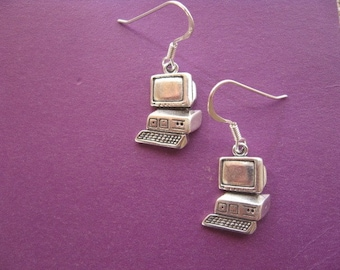 Computer Screen Earrings, Silver Charm Earrings, Computer  Earrings,  Screen Charm, Silver Computer Pendant, Teenager jewelry