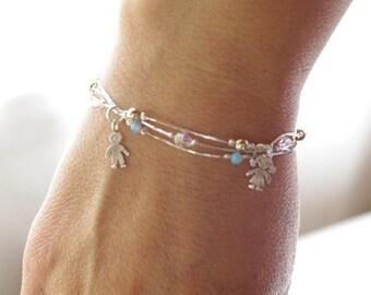 Tiny Opal Bead Bracelet, Layered Jewelry, Charm Bracelet, Layer Bracelet Jewelry, Child Charm Bracelet with Three Children Charms