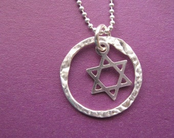 Star of David necklace, Eternity Circle Pendant, Jewish Star Necklace, Star Charm necklace, Silver Circle Necklace, Silver Ball Chain