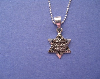 Star of David Necklace, Sterling Silver Star of David Necklace with Torah Scroll, Silver Chain, Mens and Womens Jewelry