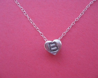 Initial B Necklace, Heart Necklace, Letter B Charm, Customized Charm,  Heart Shape Pendant Silver