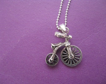 Bicycle Charm Necklace, Steampunk Bicycle Necklace, Bike Necklace, Retro Bicycle Pendant,  Sterling Silver Tricycle Pendant Retro Jewelry