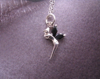 Fairy Charm, Dainty Crystal fairy Necklace with Sterling Silver Pendant, Childrens Necklace, Simple Silver Charm