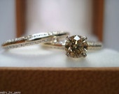14K Yellow Gold Fancy Champagne & White Diamonds Engagement Ring And Wedding Band Sets 1.04 Carat HandMade