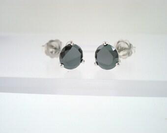 1.00 Carat Fancy Black Diamond Martini Stud Earrings 14K White Gold  Hand Made Earrings