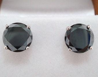 Platinum Fancy Black Diamonds Stud Earrings 3.00 Carat Handmade Certified