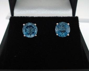 14K White Gold London Blue Topaz Stud Earrings 2.00 Carat HandMade