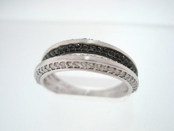 14K White Gold  Wedding  Anniversary Black & White Diamonds Stackable 2 Band 0.57ct Handmade