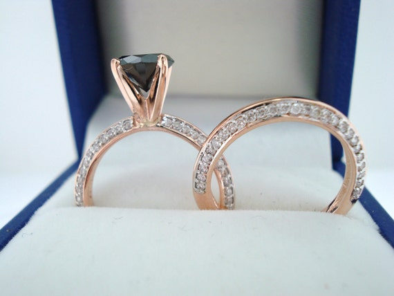 14K Rose Gold Black Diamond Engagement Ring Wedding Band Sets